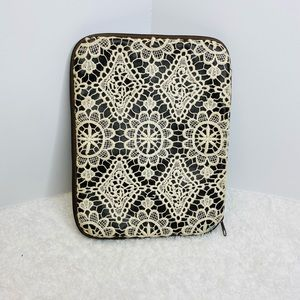 Crochet Front Brown Faux Leather Tablet Cover